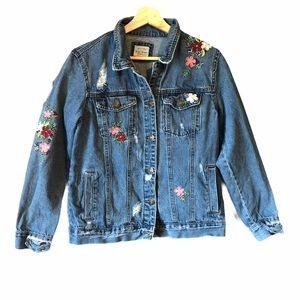 Basic Denim Wax Jean Embroidered Denim Jacket S